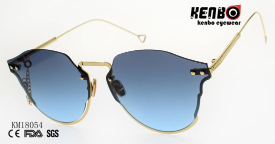 Luxury Shiny Colorful Sunglasses with Metal Chain Km18054
