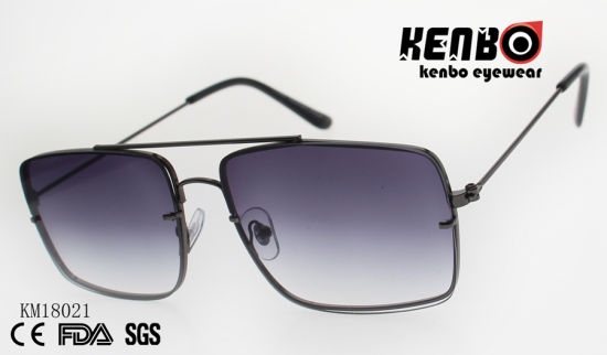 Fashion Metal Square Frame Sunglasses with Double Bridges and Ocean Lens Km18021