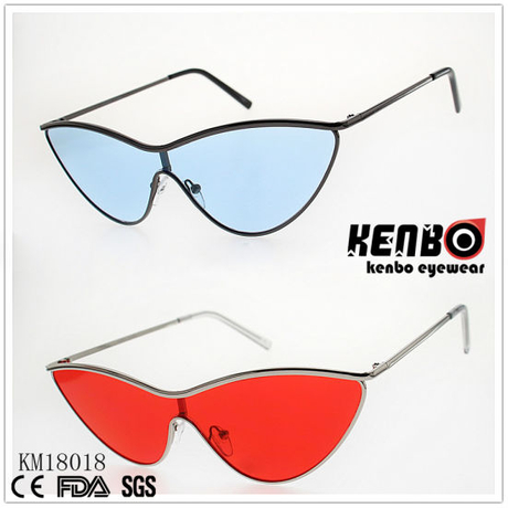 Fashion Metal Cateye Sunglasses with One Piece Lens Km18018