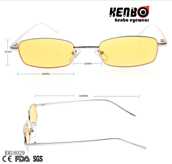 Classic Square Frame Metal Sunglasses with Muti-Colored Lens Km18029