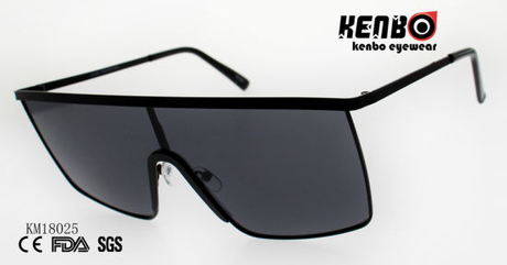 Fashion Metal Large Square Sunglasses with One Piece Lens Km18025