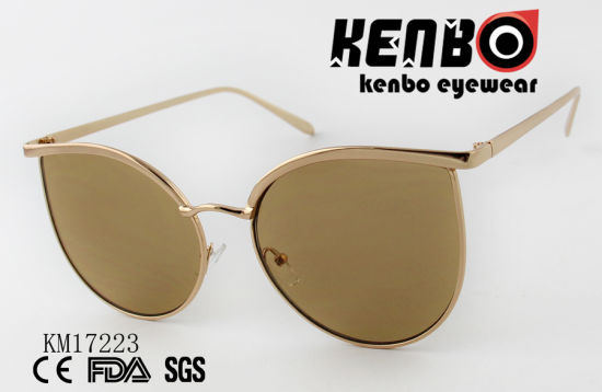 Cat Eye Sunglasses with Simple Metal Frame Km17223