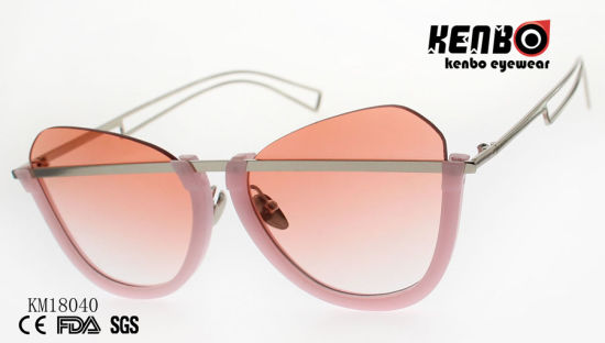 Fashion Design Frame Metal Sunglasses with PC Rim and Nice Temples Km18040