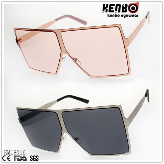 Fashion Metal Sunglasses with Large Polygonal Frame Km18016