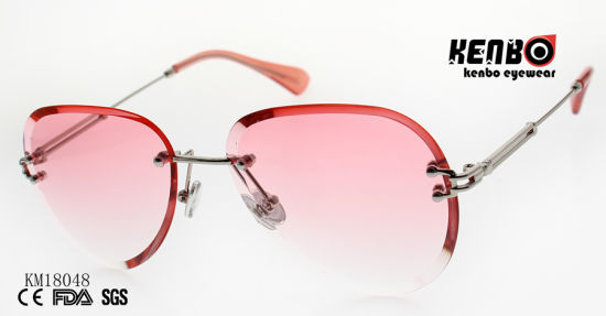 Fashion Design Frameless Metal Sunglasses with Polygonal Lens Km18048