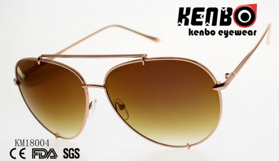 Hot Sale Metal Sunglasses with Double Bridges and Ocean Lens Km18004
