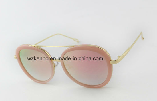 Oval Shape Frame Double Eyebrow Plastic Combine Metal Sunglasses Km17091